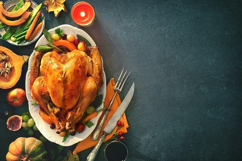 白昼,烤火鸡,火鸡肉,火鸡,宴会,餐盘,晚餐,鸡肉,装饰菜,蔓越桔