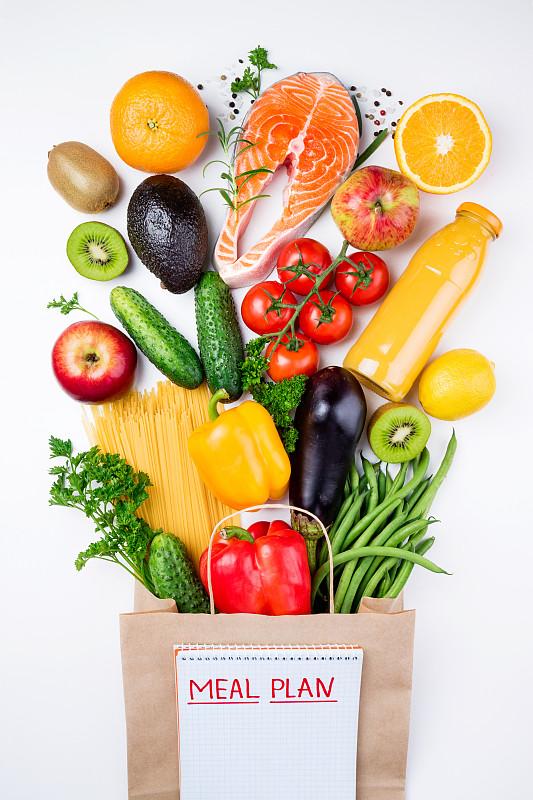 白色,鱼类,蔬菜,食品,健康食物,水果,概念,背景,纸袋,购物中心