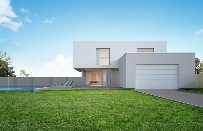 正面视角,草坪,现代,假日别墅,房屋,游泳池,巨大的,空的,华贵,设计