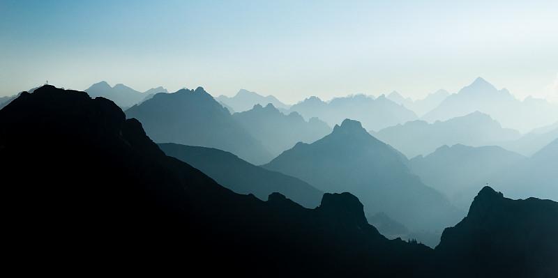 宏伟,山脉,蓝色,透明,十字架,蒂罗尔州,峡谷,阿尔卑斯山脉,全景,山