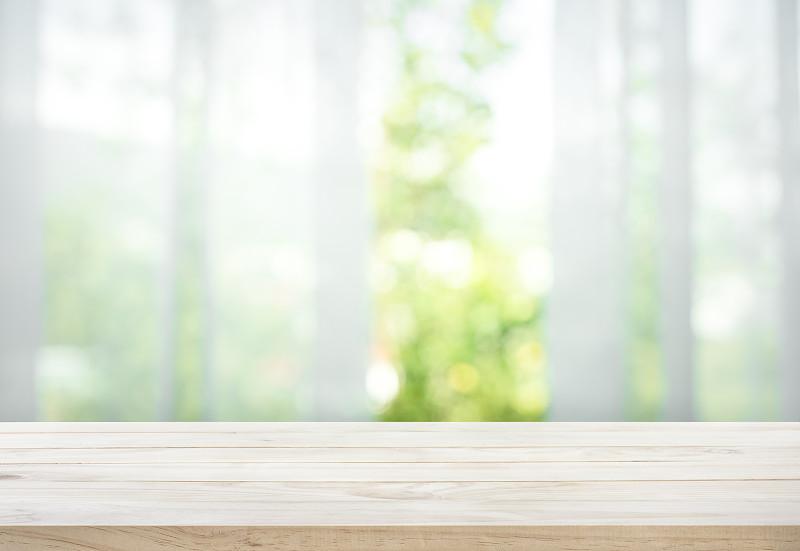木制,运动模糊,园林,窗户,桌子,风景,窗帘,留白,高视角,平视角
