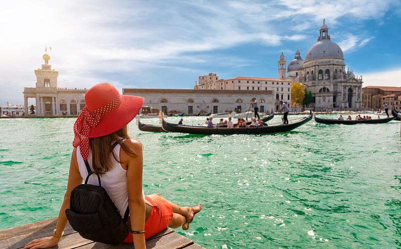 旅行者,意大利,女性,看,黛安娜公主,威尼斯,大运河,水