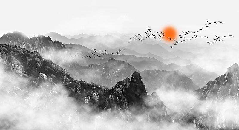 云,中国,黄山,雾,山,远距离,黄山山脉,太平洋,安徽省,传统