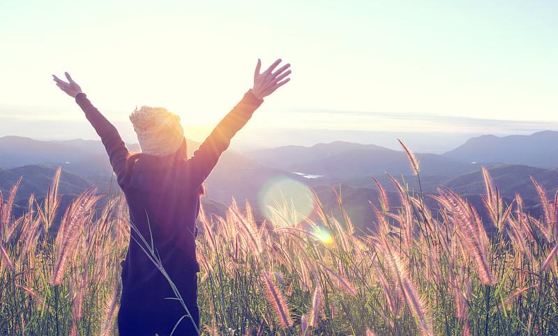 自由,幸福,自然,山,女人,户外,草地,概念,在上面,日出