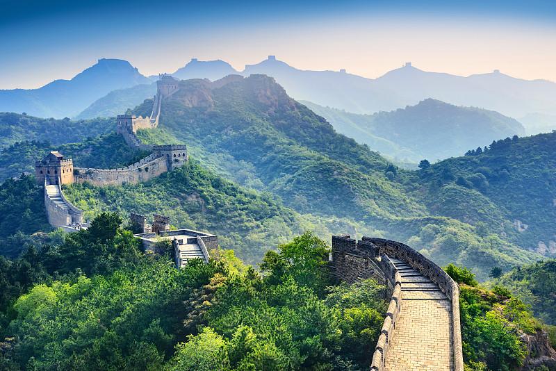 长城,古老的,早晨,旅行者,明亮,边界,山脊,国际著名景点,著名景点,风景