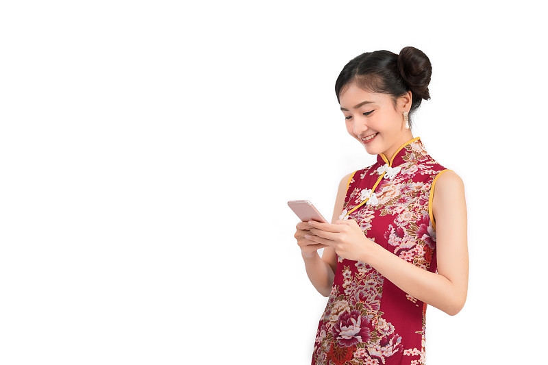 白色,技术,旗袍,女人,衣服,移动式,亚洲,概念,背景聚焦,在家购物
