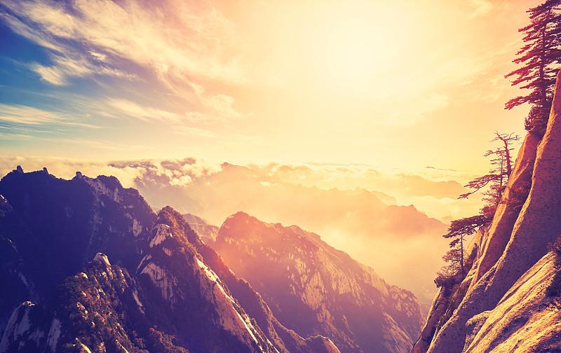 山,中国,看,彩色图片,单色图片,华山,陕西省,原野,阶调图片,秘密