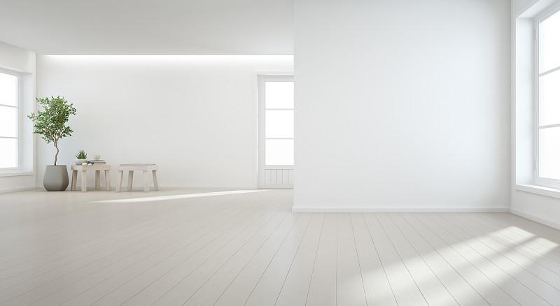 现代,门厅,白色,背景,巨大的,工作室,空的,窗户,门,日光