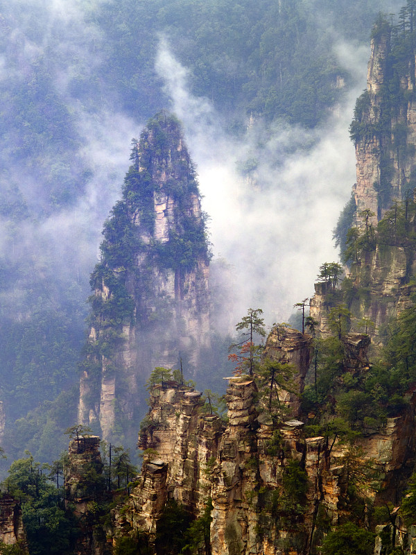 岩石,山,海洋,云景,张家界,自然,垂直画幅,地形,无人,户外