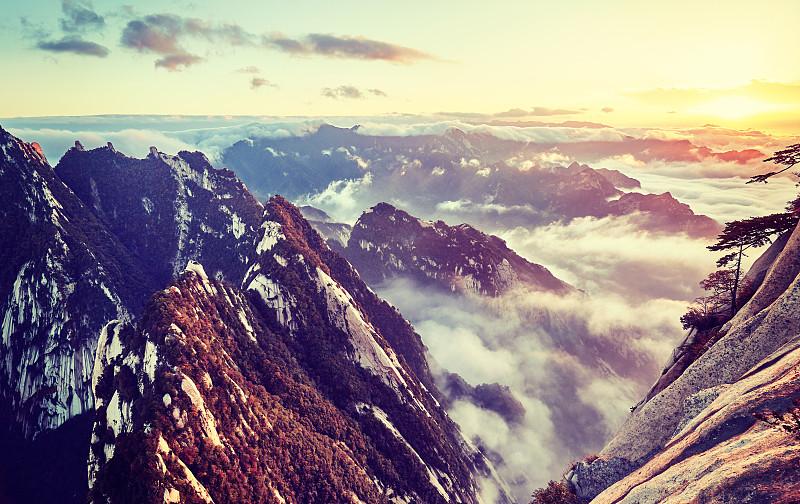 山,中国,华山,阶调图片,天鹅绒,陕西省,原野,悬崖,秘密,雾