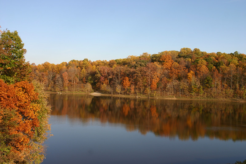湖,秋天,美国,马里兰,水,天空,留白,公园,褐色,水平画幅