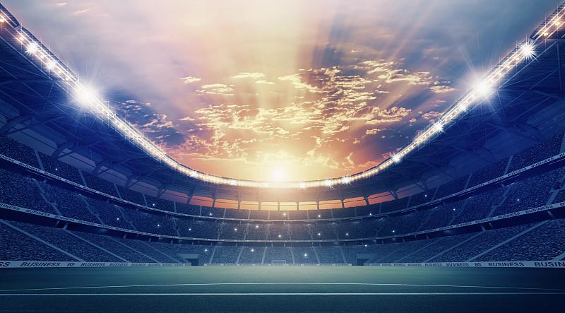 体育场,爱好者,休闲活动,水平画幅,云,夜晚,无人,户外,光,草