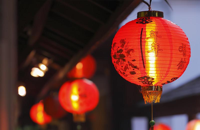 春节,中国灯笼,灯笼,纸灯笼,中国,红色,中国元宵节,光,夜晚,无人
