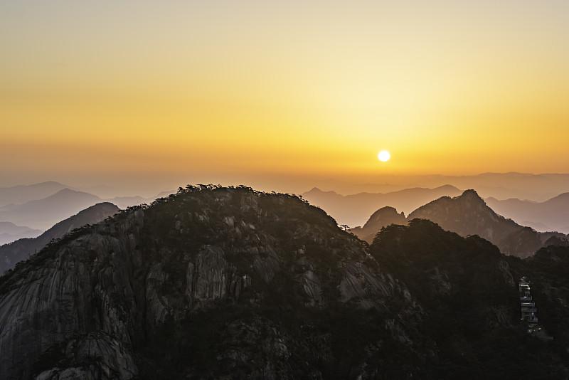 黎明,黄山山脉,天空,留白,早晨,曙暮光,东亚,夏天,气候与心情,戏剧性的景观