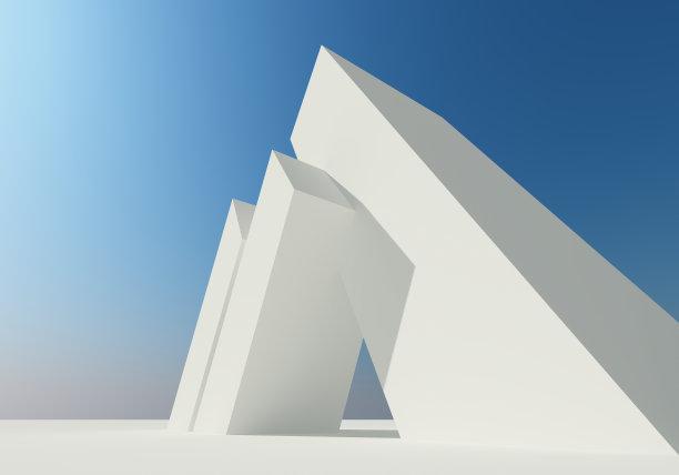 白色抽象建筑