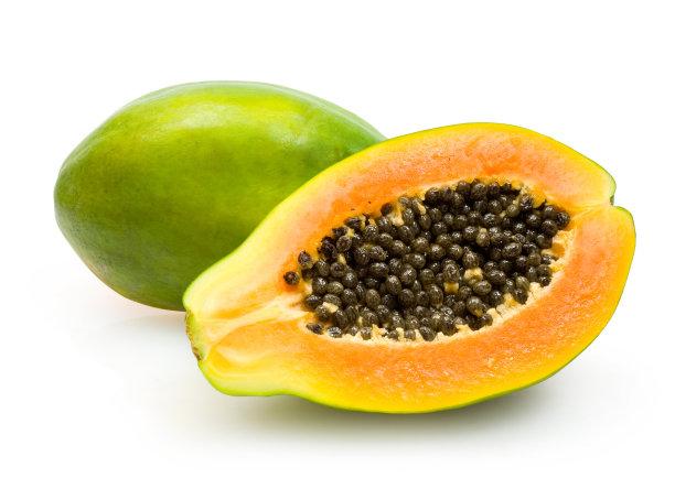 橙色木瓜一半的