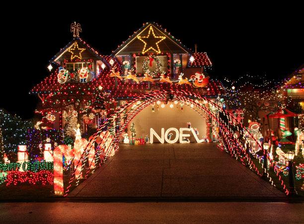 圣诞小彩灯水平画幅夜晚