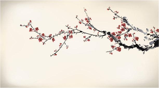 墨水腊梅花朵