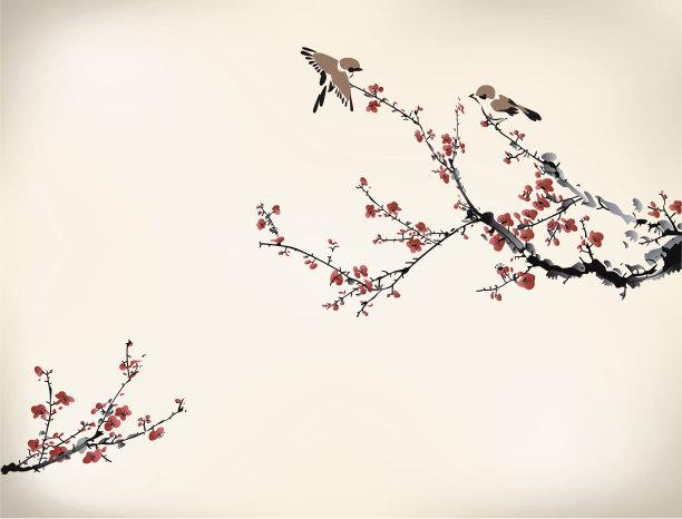 鸟类冬天亚洲樱桃树