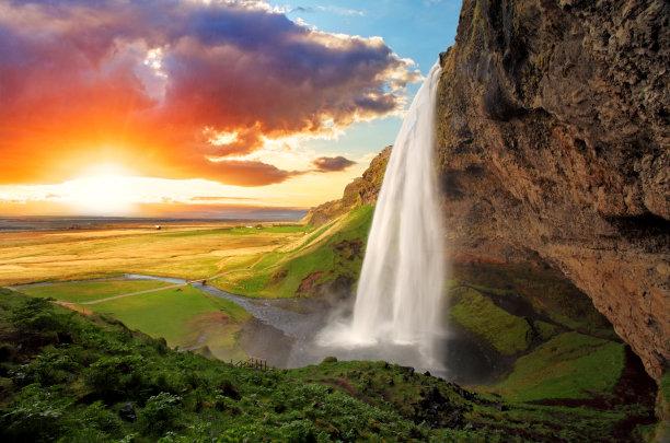 山水风景瀑布景色
