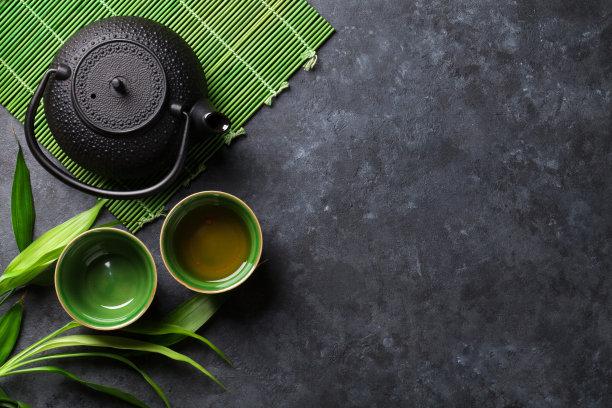 绿茶绿色茶壶