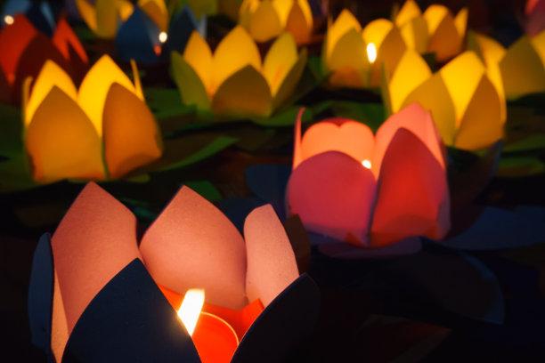 灯笼荷花蜡烛