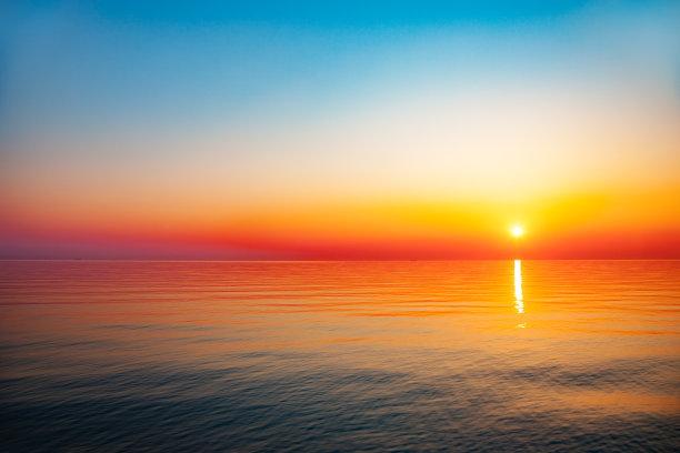 海洋黎明橙色