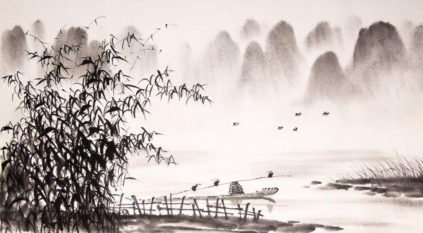 水墨画中国地形