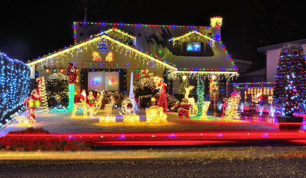 圣诞小彩灯水平画幅绿色