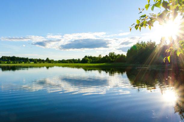 日光下的湖面