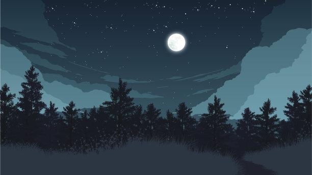 森林风景插画绘画插图