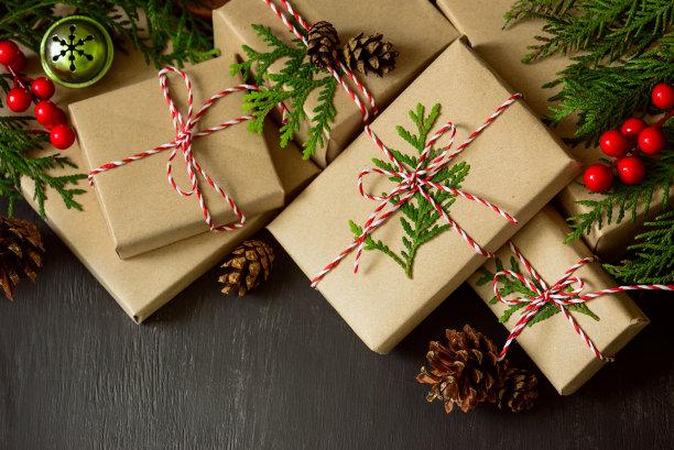 简约牛皮纸圣诞节礼物