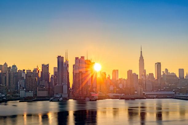 城市天际线曼哈顿中心水