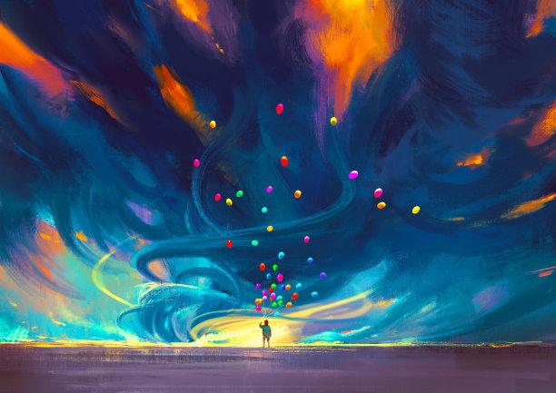暴风雨气球儿童