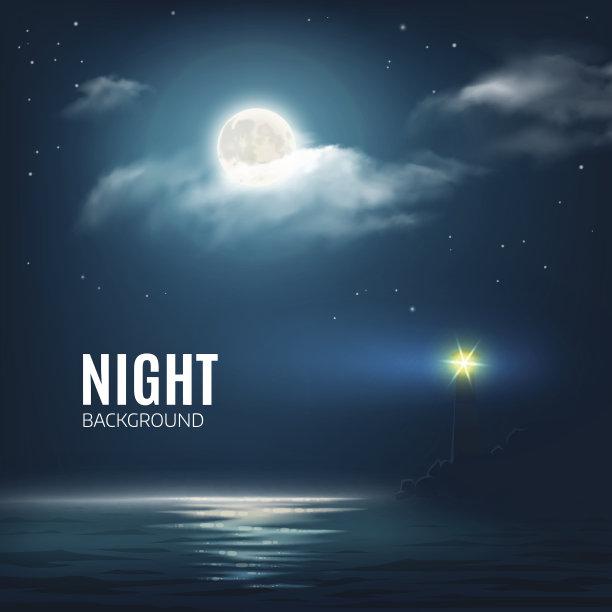 夜晚月亮海洋