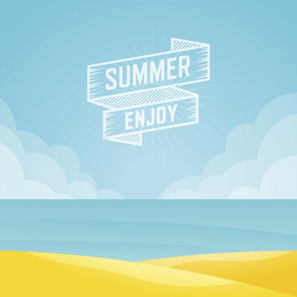 绘画插图夏天海景
