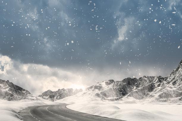 下雪道路背景