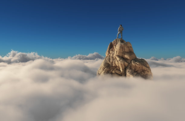 悬崖上的登山者