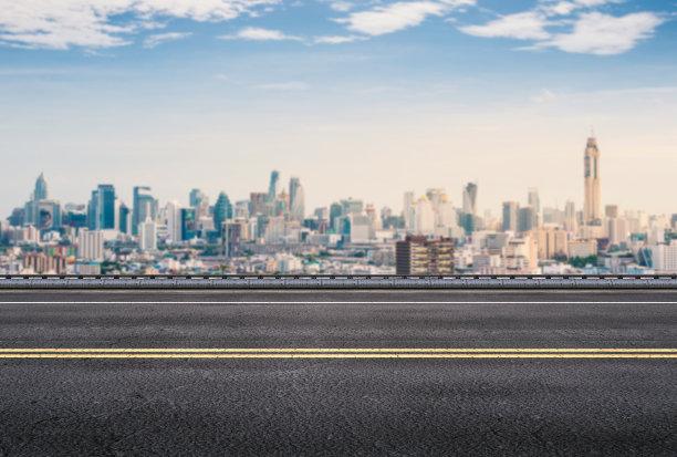 路边都市风景背景