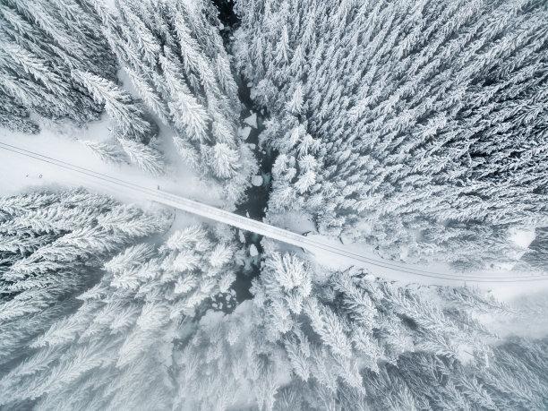 冬季仙境天空高视角