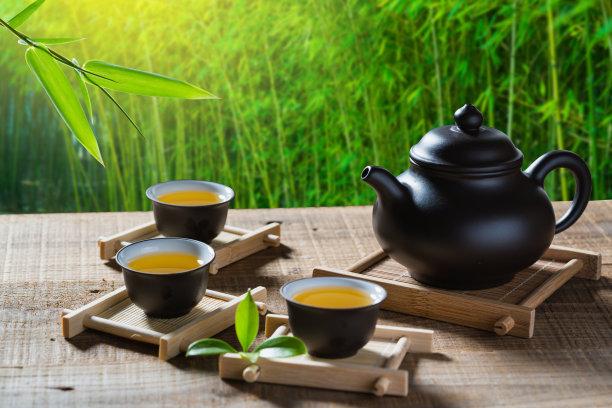 茶道竹子叶茶壶