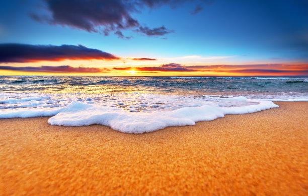 海滩,黎明,自然美