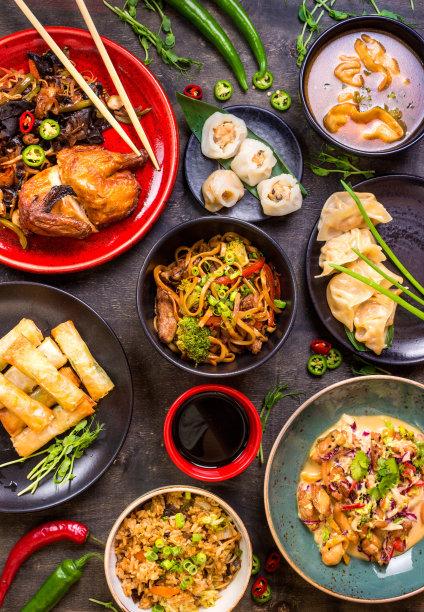 中国食品背景空白的