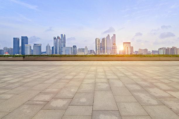 滨水都市风景地平线