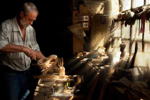 木工阳光光束工匠