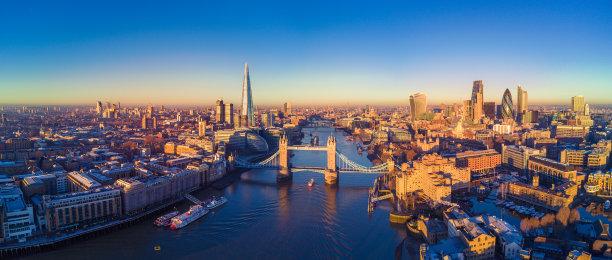泰晤士河伦敦航拍视角