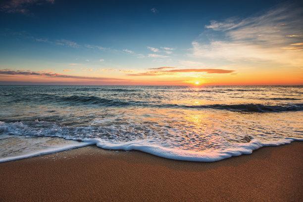 黎明,海洋,自然美