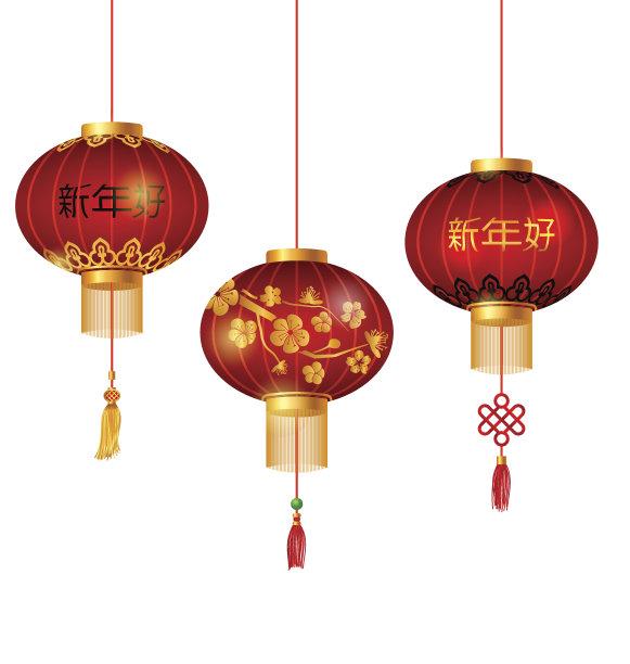 中国灯笼红色圆形