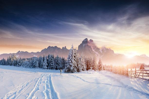 冬天道路雪景风光