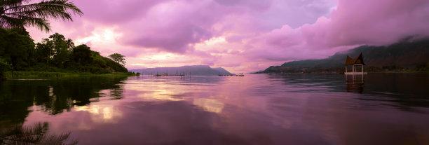 全景,早晨,多巴湖